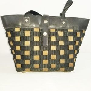 Longaberger To Go Leather Wood Woven Tote Bag